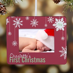 Personalized Mini-Frame Christmas Ornament - Baby's First Christmas - 15067