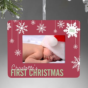 Personalized Mini Frame Christmas Ornament Baby S First