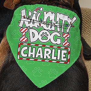 Personalized Christmas Dog Bandana - Naughty Dog - 15079