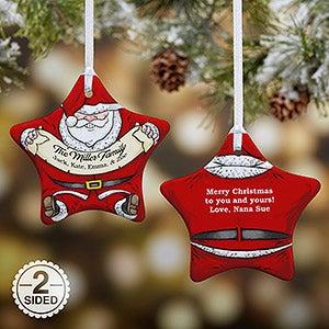 Personalized Vintage Santa Star Christmas Ornament - 15086