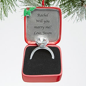 Personalized Engagment Christmas Ornament - Engagement Ring - 15092