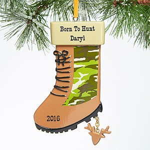 Personalized Outdoors Christmas Ornament - Camo Hunting Boot - 15104