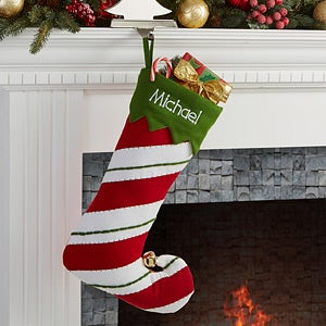Personalized Christmas Stockings With Bell - Jolly Jester Stipes & Polka Dots - 15110