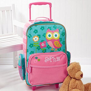 Personalized Kids Rolling Luggage - Lovable Owl