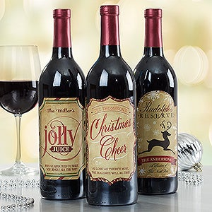 personalized merry christmas wine bottle labels. Black Bedroom Furniture Sets. Home Design Ideas