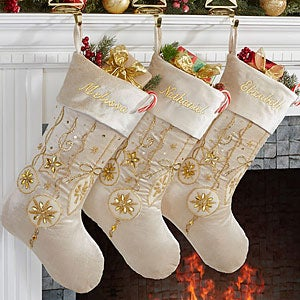 Personalized Ivory And Gold Jeweled Christmas Stockings - Yuletide ...