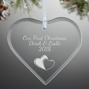 Personalized Glass Heart Christmas Ornament - Create Your Own - 15152