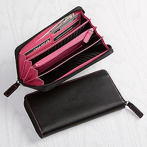 Personalized Sleek Debossed Leather Fan Wallet - 15170