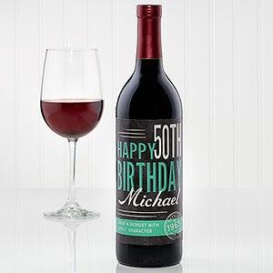 Personalized Birthday Wine Bottle Label - Vintage Age - 15177
