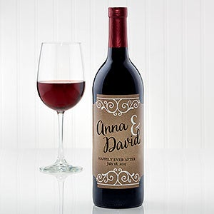 Custom Wine Labels For Wedding Gift : Personalized Wedding Wine Bottle Label - Rustic Chic Wedding - Wedding ...