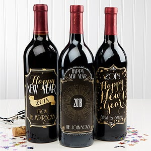 Personalized Happy New Year Wine Bottle Labels - 15219