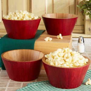 Set of 4 Red Bamboo Salad & Snack Bowls - 15234