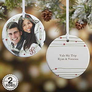 Personalized Photo Christmas Ornament - Holiday Wreath - 15252