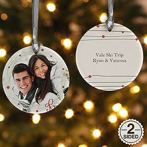 Personalized 2-Sided Photo Christmas Ornament - Holiday Wreath - 15252