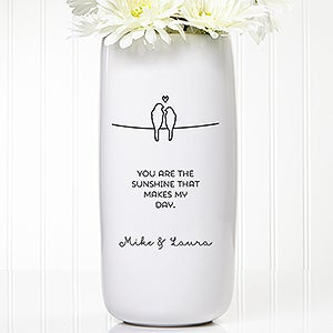 Personalized Romantic Vase - Lovebirds - 15261