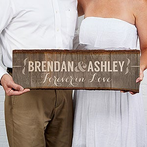 Personalized Basswood Wall Art Sign - Rustic Couple - 15264