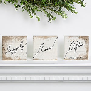 Personalized Romantic Shelf Blocks - Happily Ever After - 15265