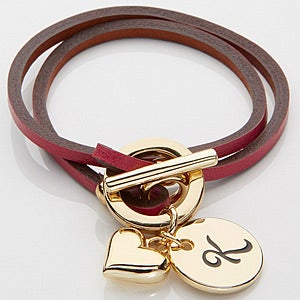 Personalized Leather Wrap Charm Bracelet - Pink - 15276D