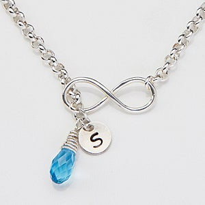Personalized Infinity Necklace With Swarovski Crystal And Initial Charm - 15278D