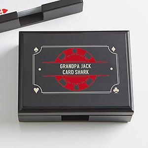 Personalized Wood Playing Card Box - Poker Night - 15297