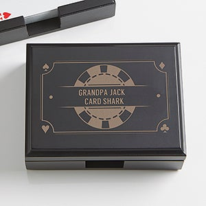 Personalized Wood Playing Card Box - Poker Night - 15297