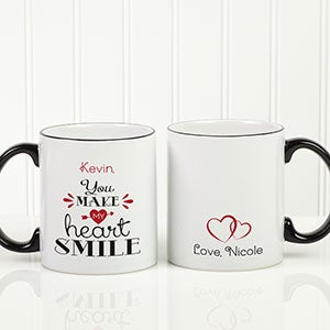 Personalized Romantic Coffee Mug - You Make My Heart Smile - 15314