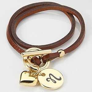 Personalized Wrap Charm Bracelet - Brown Leather - 15346D