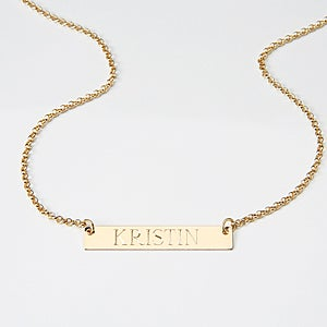 Personalized Gold Name Plate Necklace - 15349D