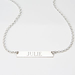Personalized Silver Name Plate Necklace - 15350D