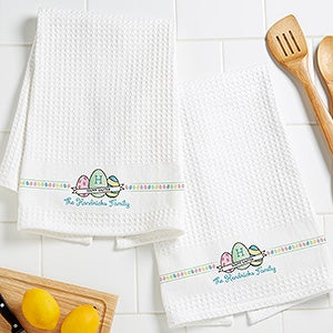 Personalized Easter Waffle Weave Towel Set - Happy Easter - 15381