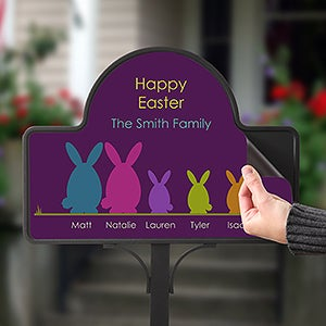 Personalized Easter Garden Stake & Magnet - Easter Bunny Family - 15438