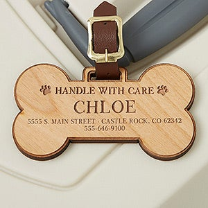 Personalized Wood Pet Bag Tag - Dog Bone - 15443