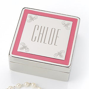 Engraved Pink Border Jewery Box - You Name It - 15459