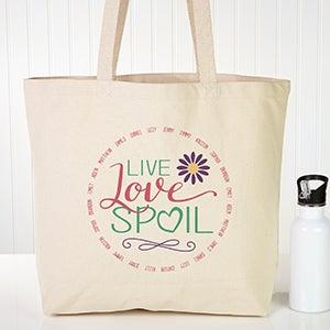 Personalized Canvas Tote Bag - Live, Love, Spoil - 15475
