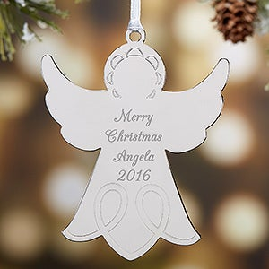 Personalized Silver Angel Christmas Ornaments - 15479