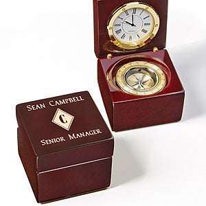Personalized Navigator Clock and Compass - Executive Series - 15494