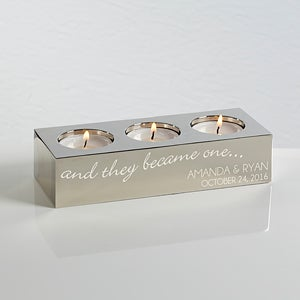 Personalized Wedding Tea Light Candle Holder - Happy Couple - 15497