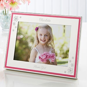 Engraved Pink Border Frame - My Flower Girl - 15514