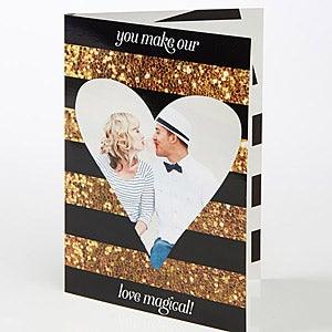 Personalized Heart Photo Greeting Card - Romantic Glitter - 15522