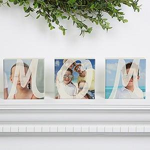 Personalized Photo Shelf Blocks Set Of 3 - MOM - 15566