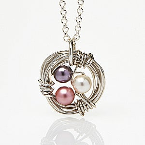 Personalized Birthstone Necklace - Bird Nest - 15586D