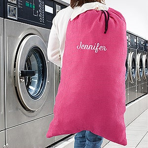 Embroidered Pink Laundry Bag - 15610