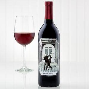 Engraved Wine Bottles For Wedding Gift : Personalized Photo Wedding Wine Bottle LabelOur Wedding15611