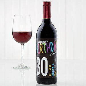 Personalized Birthday Wine Bottle Label
