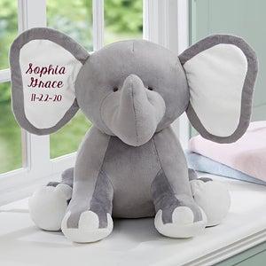 Embroidered Jumbo Plush Baby Elephant - Grey