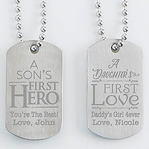 Personalized Dog Tag Set Of Two - First Hero, First Love - 15647
