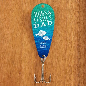 Personalized father 39 s day fishing lure hugs fishes for Fishing gifts for dad