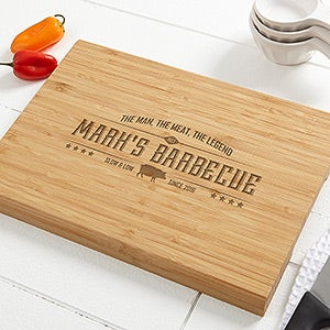Personalized Bamboo Cutting Board - The Man, The Meat, The Legend - 15664