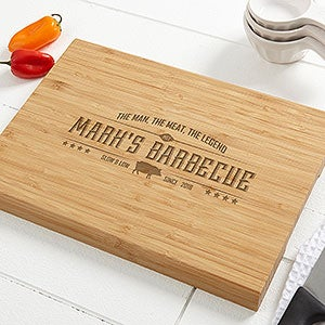 The Man, The Meat, the Legend Personalized Bamboo Cutting Board- 10x14 - #15664
