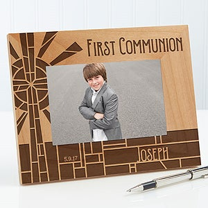 Personalized Religious Wood Picture Frame - First Communion Stained Glass - 15680